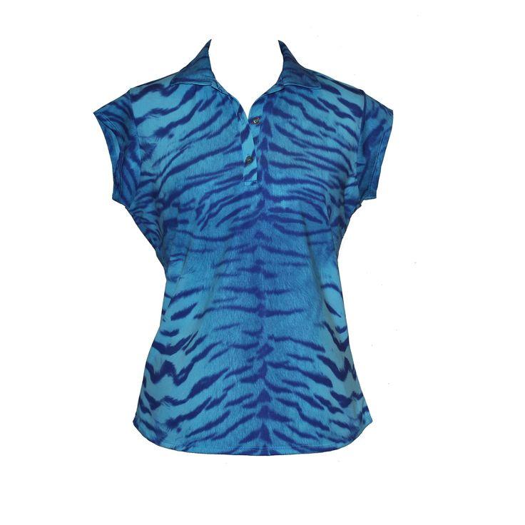 Women's cap sleeve golf shirt in blue tiger print. $55 Australian from Lady Golfwear