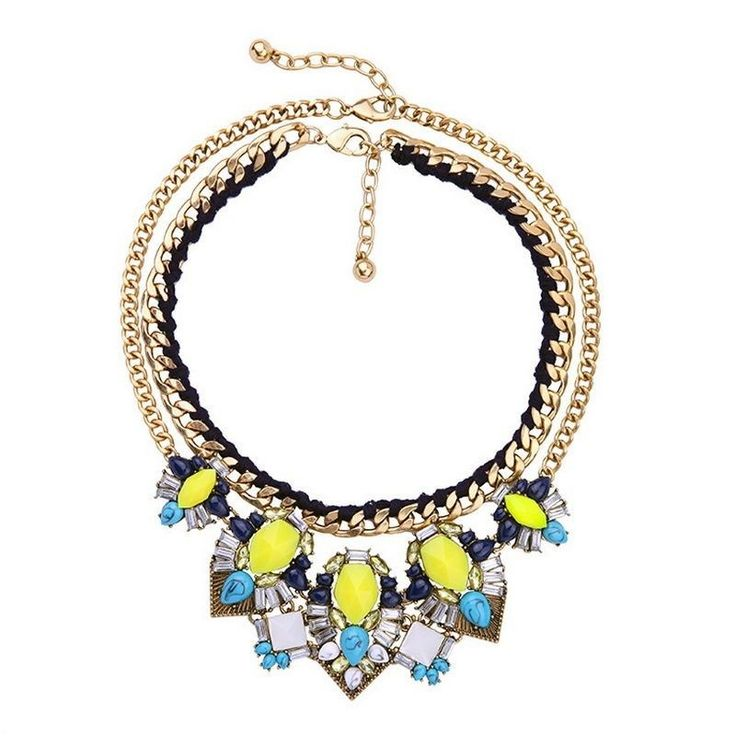 Statement Necklace, Turqoise, Blue & Yellow Vintage Statement Necklace | eBay - buy now