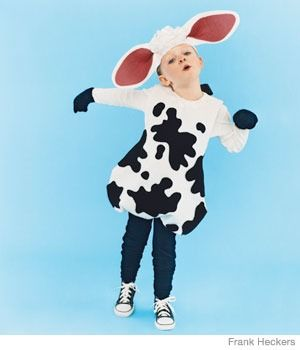 Kids' Halloween Costume: Cow - A cute, cuddly costume, made with a sweatshirt (and no sewing!)
