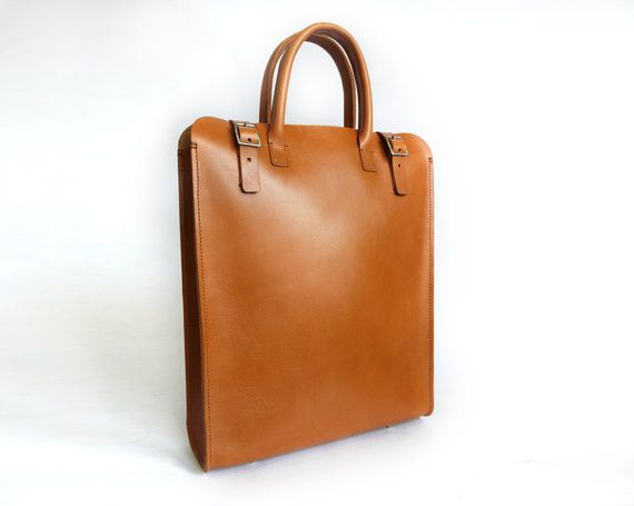 Mens/Womens Tan Leather Tote/Carryall by BasAder on Etsy, $240.00