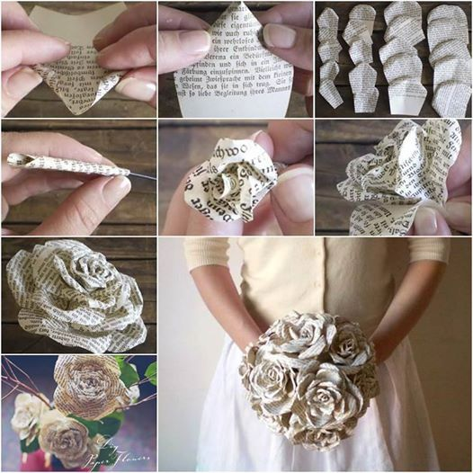 Dont't throw your old books, turn them into these gorgeous paper roses .  Check tutorial--> http://wonderfuldiy.com/wonderful-diy-paper-roses-from-old-book-pages/ #diy #crafts