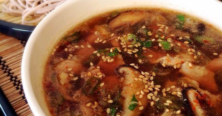 ☆100人話題入り&Yahoo!JAPAN、クックパッドニュース掲載☆ 冷たいそばを熱いつゆで食べるピリ辛のつけ麺そば♪