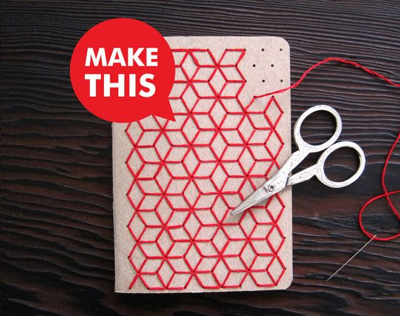 DIY Geometric Pocket Notebook Embroidery Kit Set