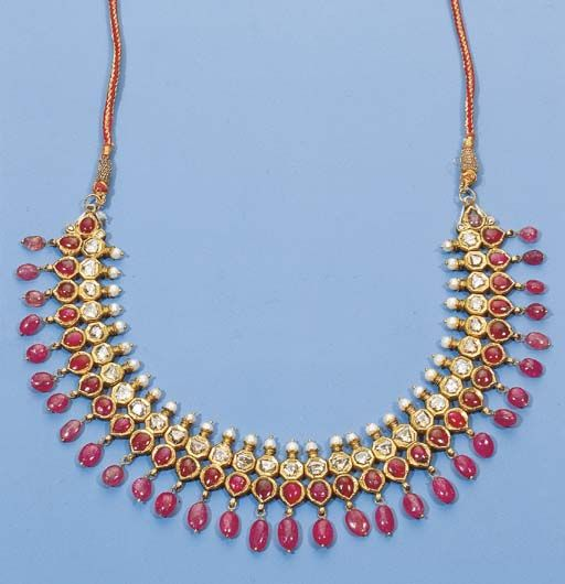 an indian diamond and ruby necklace