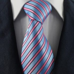 Blue-Black & Pink Striped Neckties / Formal Business Neckties.