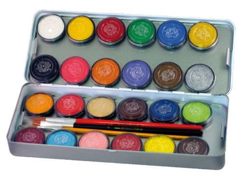 Theaterschminke Schminke Make-up Metall-Palette 24 Farben von Eulenspiegel