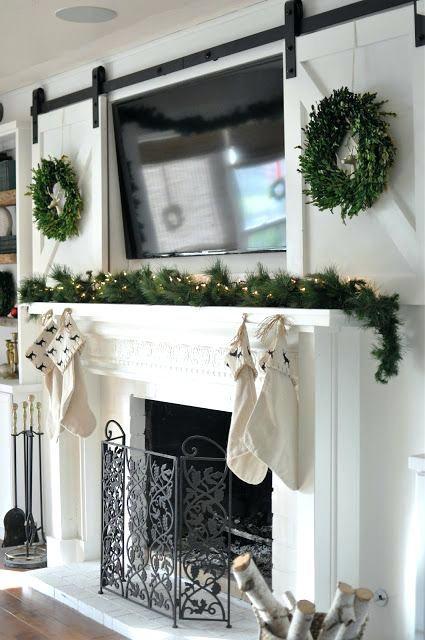 Mounted Tv Above Fireplace Hiding Wires Wall Hide Mount Living Room Barn Door