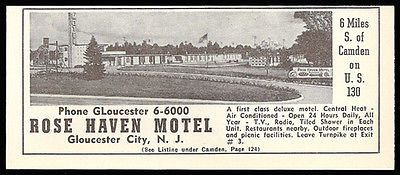 Rose Haven Motel Ad Gloucester City New Jersey 1954 Roadside Photo Ad Travel