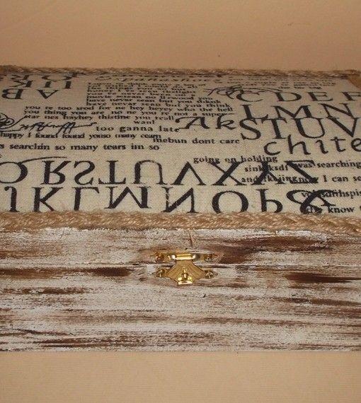 κουτι ξυλινο ντεκαπε πατινα υφασμα εφημεριδα 22Χ13,5Χ10