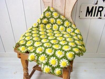 手編みニット・お花の立体モチーフ編み・アンティーク・ブランケット/ひざ掛け USA