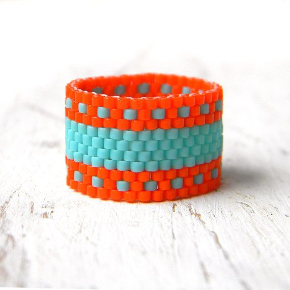 Colorful ring Bright summer ring Orange and turquoise ring Seed bead ring Wide beaded ring Peyote ring Statement ring Eye catching ring