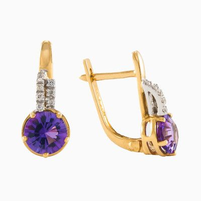 Womens gold earrings with amethyst in 18k yellow gold with diamonds. Beautiful, natural round amethyst with total weight 1.52ct. Each of these pretty earring sfeatures diamonds in the parts of white gold with total weight 0.07ct.