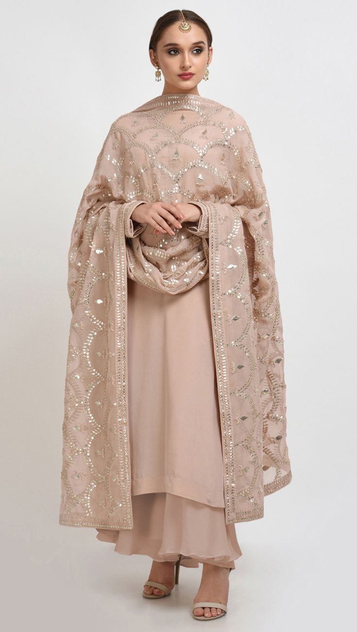 Oyster Pink Hand Embroidered Gota Patti Work Suit With Dupatta