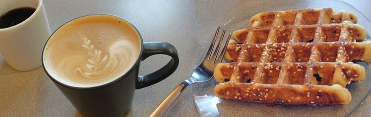 one of my favorite snacks is a liege waffle and warm frothy (or iced) vanilla latte from jubala village coffee in raleigh, nc