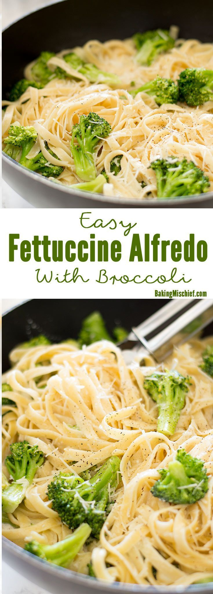 A quick and easy vegetarian dish for busy Meatless Mondays, full of broccoli and cheesy Alfredo goodness! Recipe includes nutritional information, recipe for two and make-ahead instructions. From http://BakingMischief.com