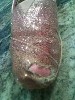 Glitter Tom Repair... since baby D decided to eat the toes out of mine today