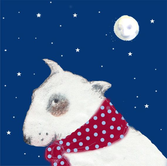White Bull Terrier by Moonlight Card Pack of by TheTerriersClub