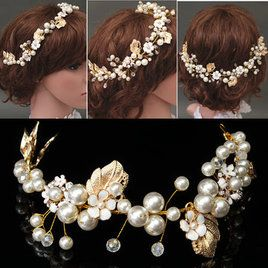 Bride Luxury Crystal Pearl Bead Hair Chain Wedding Bridal Tiara Hair Accessories Headband