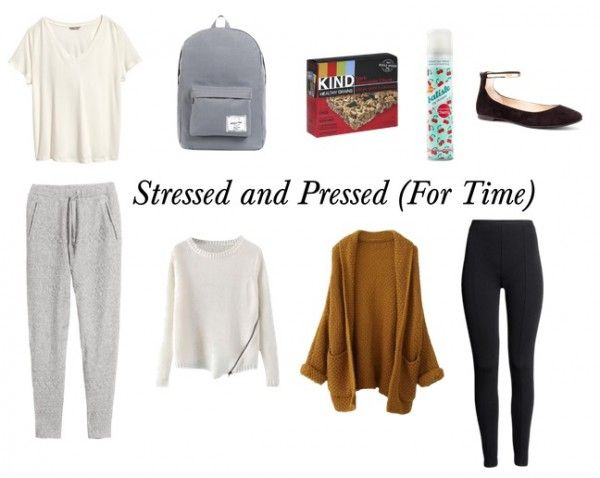 Fashion-related interpretation of the stages of finals week: Stressed and pressed for time --- Tee – H&M, Backpack – Karmaloop, KIND Bars – Target, Dry Shampoo – Amazon, Leggings – H&M, Cardigan – Blackfive, Sweater – Blackfive, Joggers – H&M