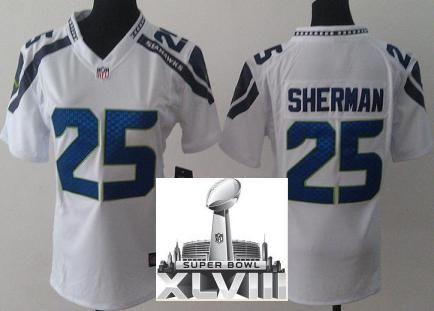 Women Nike Seattle Seahawks 25 Richard Sherman White 2014 Super Bowl XLVIII  NFL Jerseys. Richard ShermanSeattle SeahawksBroncosCamisetas De ...