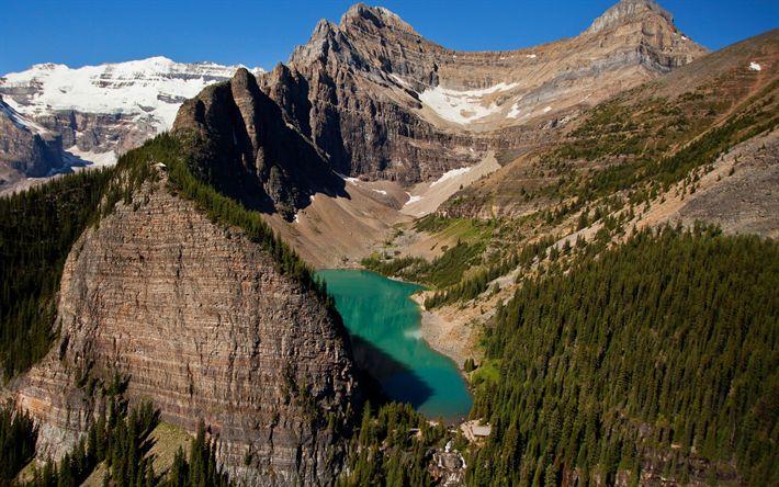Descargar fondos de pantalla Agnes Lake, lago de montaña de Banff, Alberta, montañas, lago de agua dulce, el lago de origen glaciar, Canadá