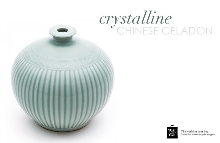 Celadon finds its origins in China. This reproduction is perfect for decorating your home  with light and colour. http://near-and-far.com/en/home/75-chinese-celadon-glazed-vase.html #furnishing #details #vase #chinesestyle