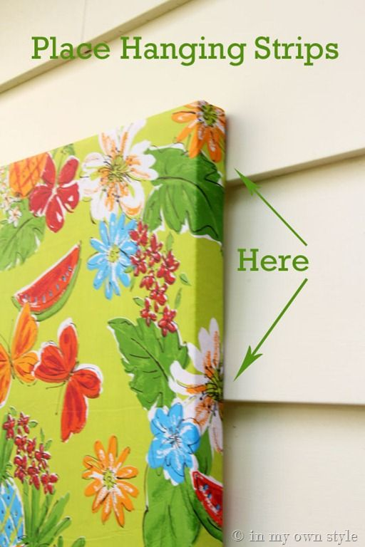 """Outdoor Wall art made from Vinyl Tablecloths - use 3M strips to hang lightweight """"canvas"""" - use a more basic fabric design"""