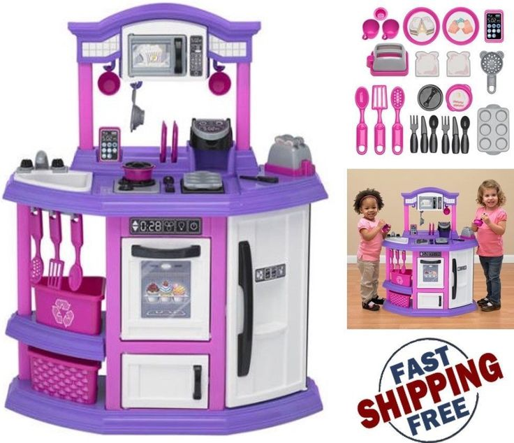 Pretend Play Kitchen Set for Kids Cooking Bake Food Toy For Girls Pink Playset #AmericanPlastics