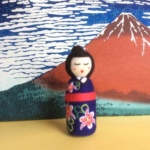 Miyoko Needle felted Japanese style kokeshi doll. by SweetPeaDolls