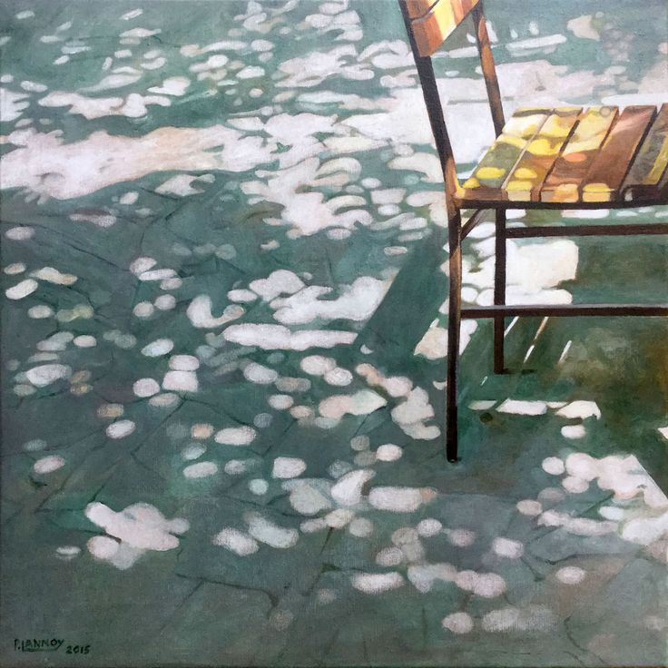 Patrice Lannoy, realistic painting, figurative, landscape, chair and sun spots, paintings on canvas