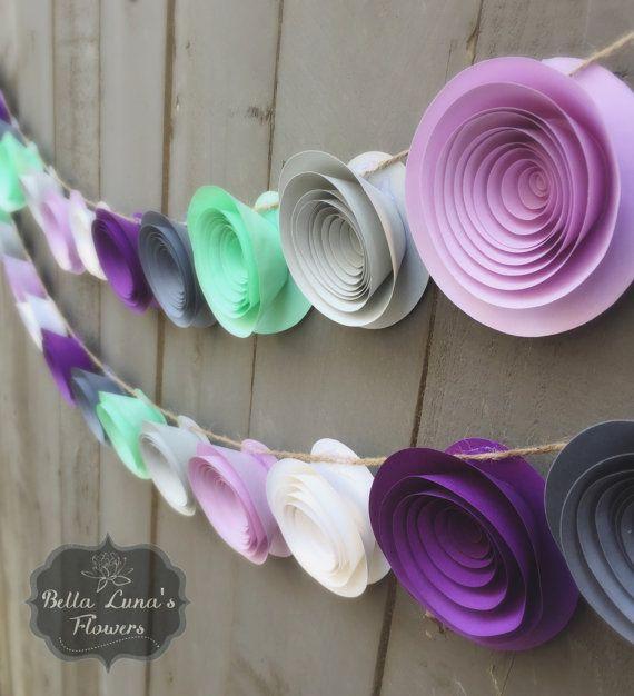 Purple Paper Flower Garland Gray White by BellaLunasFlowers