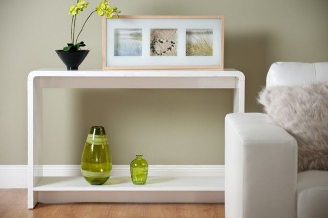 Toscana White High Gloss Tall Console Table