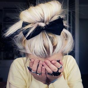 #blonde #bow #hipster #highlights #black #white #bun #summer #hipster