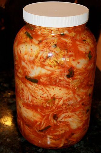 Vegan Kimchi - for when making Kombucha becomes routine and boring and I want to bother Paul with yet another crock on the counter. Hee hee hee!