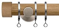 Jones Lunar 28mm Curtain Pole Oak & Matt Nickel, Oak Endcap