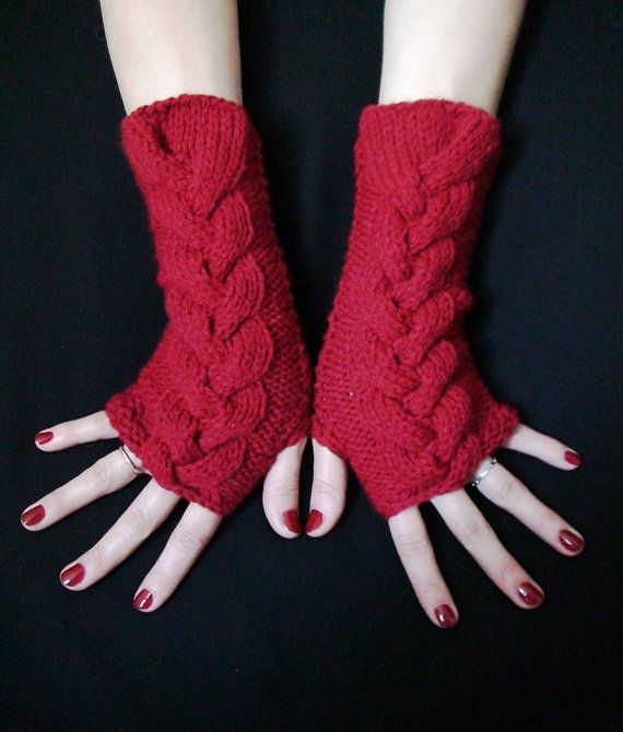 Wrist Warmers Dark Red Fingerless Gloves Cabled Acrylic Handknit