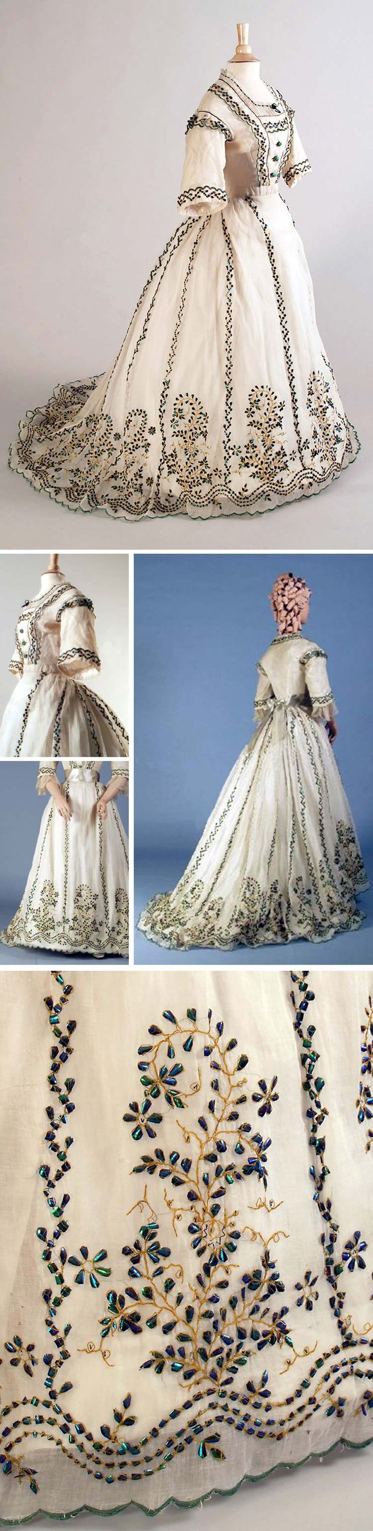 White cotton gauze dress ca. 1863-67, embroidered with green beetle wings, gold thread, lace trim, center front buttons to waist, full skirt, short sleeves. Embroidered in India, made for export. Kent State Univ. Museum & KSUM Pinterest