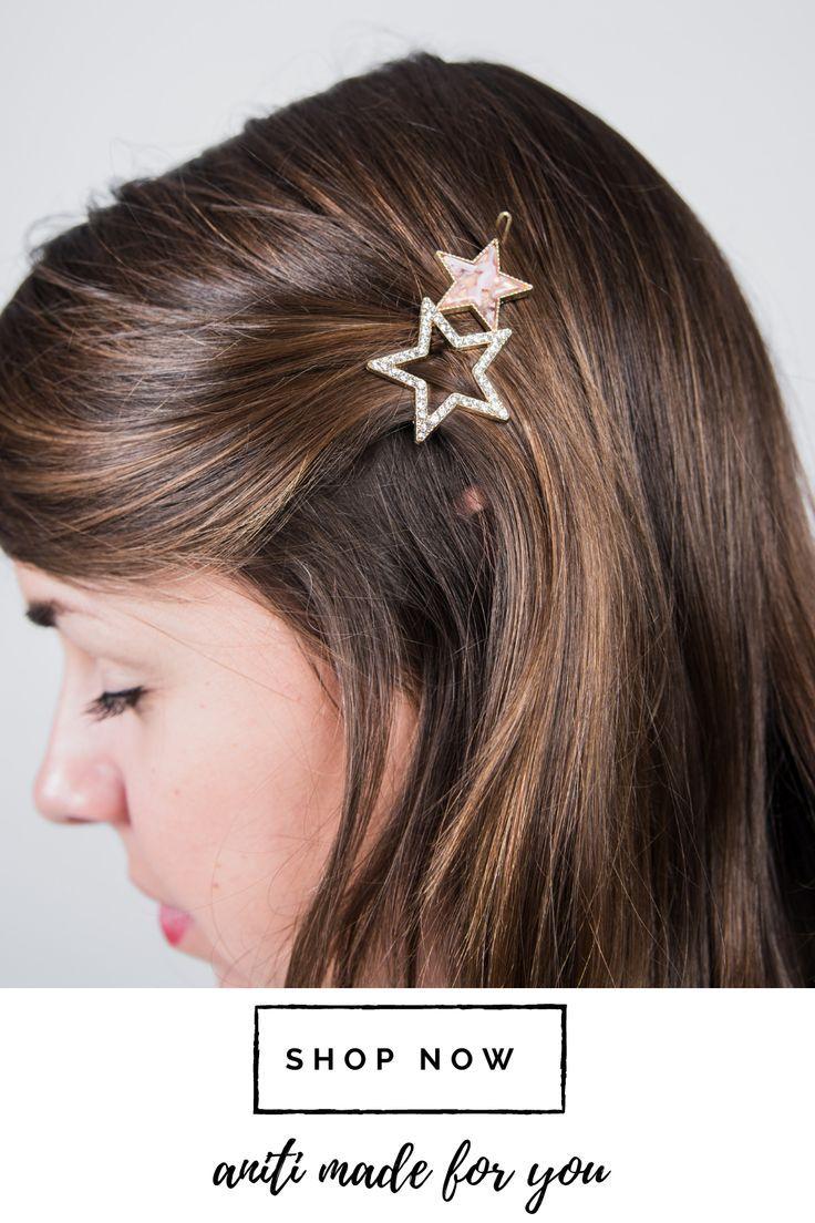 Hair Clip Star With Glitter Festive Hair Clip Hair Clip Gold In 2020 Small Hair Clips Hair Clips Stylish Hair