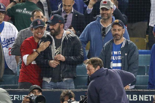 Matt Damon And Ben Affleck Celebrate The Red Sox Victory While Jimmy Kimmel Looks On In Disappointment Matt Damon Jimmy Kimmel World Series