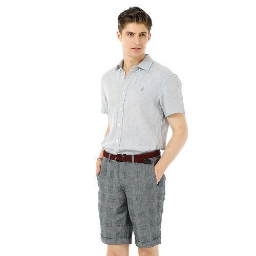 그레이 리넨 하운드투스 반팔 셔츠