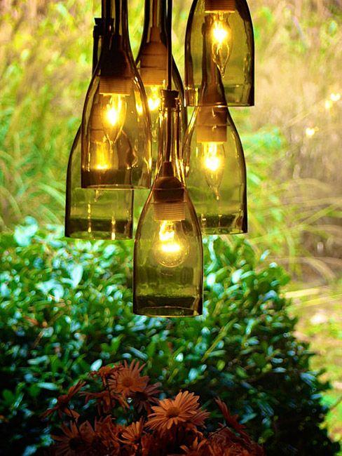 DIY wine bottle chandelier instructions.