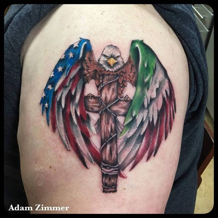 Attractive American Flag Tattoo with Italian Flag Tether Winged Eagle Sitting on a Cross