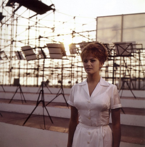 "Claudia Cardinale on the set of ""8 1/2"""