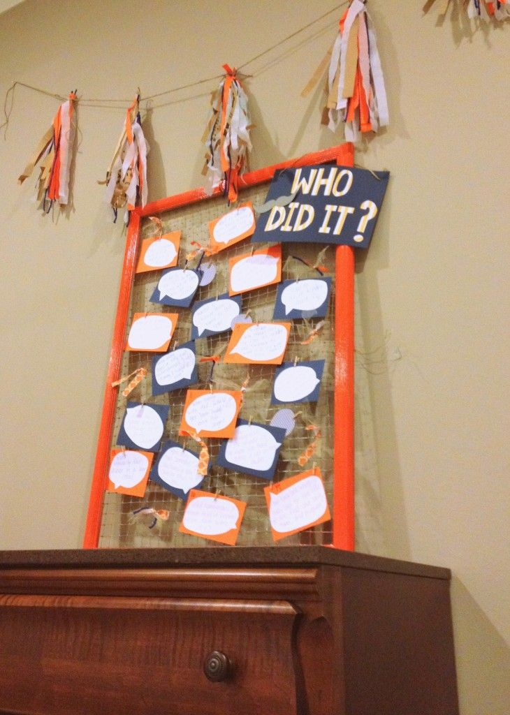 """Make a """"who did it"""" board for a baby shower activity! Get the mama's of the paretns to be to give you 10 cute things he/ she did as a child and then everyone guesses who did it... fun!"""