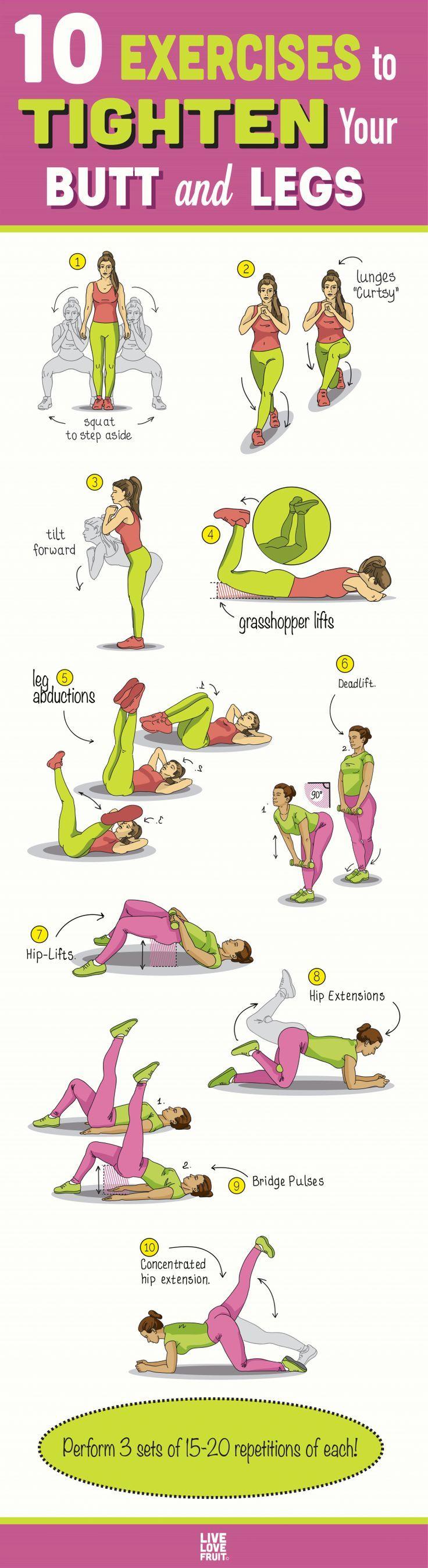 10 Bein- und Po-Übungen für ein kräftiges, formschönes … #fitness