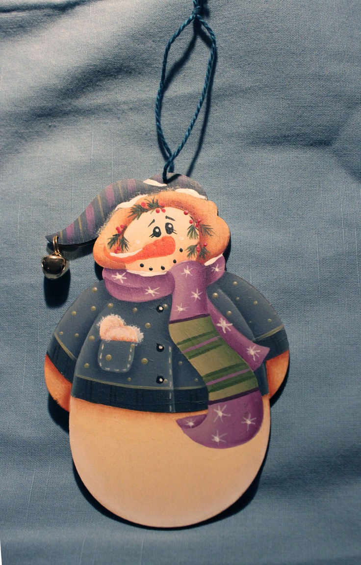 Hand Painted Snowman Wooden Christmas Ornament $1300, Via Etsy