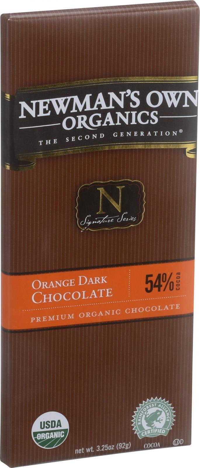 Newman's Own Organics Chocolate Bar - Organic - Dark Chocolate - Orange - 3.25 oz Bars - Case of 12