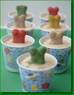 Homemade doggie ice cream! Three 6-oz Containers of Plain, Low-Fat Yogurt 1/2 Cup Peanut Butter (Low Sodium) One 4-oz Jar Banana Baby Food 1 Tablespoon of Honey Mix well. Pour into Dixie Cups. Place dog bone in mixture (to serve as the handle). Once frozen, peel away paper