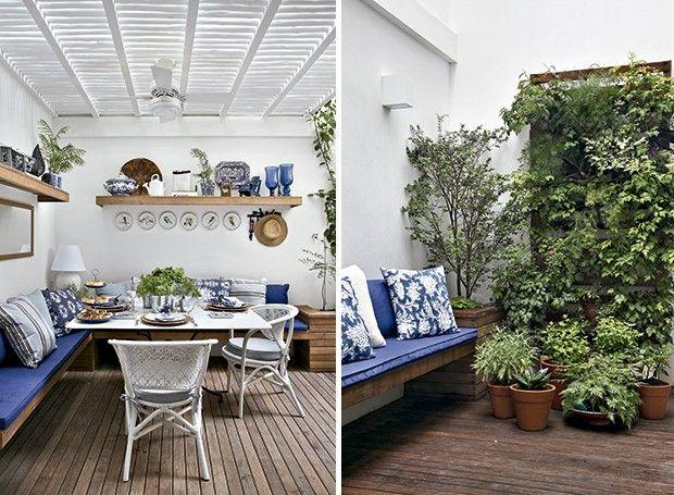O pergolado de eucalipto pintado de branco valoriza a entrada de sol. Nas paredes, pratos pintados por Edith e coleção de louças | Graças à ...