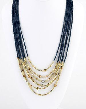 "Six Strand navy Beaded Necklace With Gold Beads On The End "" Island Design""  BEAUTIFUL!"